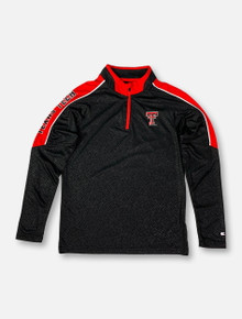 "Arena Texas Tech Red Raiders Double T ""Bunsen"" Black YOUTH Long Sleeve Quarter-Zip"