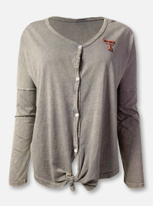 """Arena Texas Tech Red Raiders Double T """"Charity"""" Grey Button-Up Tie-Front Long Sleeve T-Shirt"""