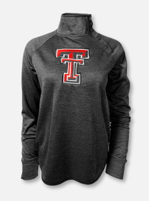 """Arena Texas Tech Red Raiders Double T """"Marled Snap""""  Black Fleece Pullover"""