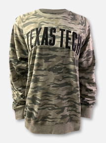 "Pressbox Texas Tech Red Raiders Classic Arch In Black On ""Gulfport"" French Terry Crewneck Sweatshirt In Camo"