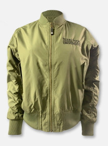 """Texas Tech Red Raiders """"Bomber"""" Olive Green Women's Cropped Full-Zip Jacket"""