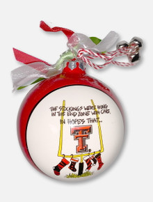 "Texas Tech Red Raiders Double T ""Stockings"" Glass Ornament In Red"