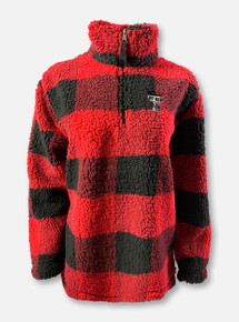 Texas Tech Red Raiders Double T Buffalo Plaid YOUTH Sherpa Quarter-Zip Pullover