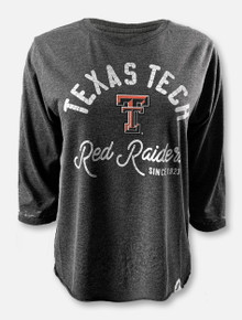 "Texas Tech Red Raiders Double T ""Janice Tee"" 3/4 Sleeve Crop Top In Black"