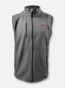 """Texas Tech Red Raiders Double T """"Pacific Heathered"""" Full-Zip Vest In Charcoal"""