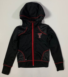 Arena Texas Tech Red Raiders Double T  YOUTH Performance Fabric Full-Zip Hoodie In Black