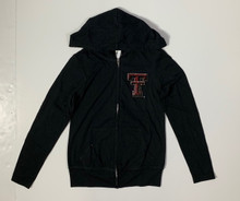 Texas Tech Red Raiders Double T  YOUTH GIRLS Rhinestone Full-Zip Hoodie In Black