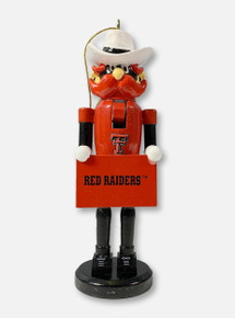 Texas Tech Red Raiders Double T Raider Red Mascot Nutcracker With Red Raiders Sign Ornament