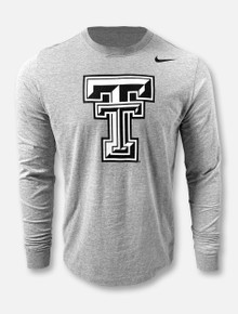 Nike Texas Tech Red Raiders Black And White Double T  Grey Long Sleeve T-Shirt