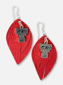 Texas Tech Red Raiders Boho Suede Feather Earrings