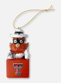 Texas Tech Red Raiders Double T Raider Red Mascot in Box Ornament