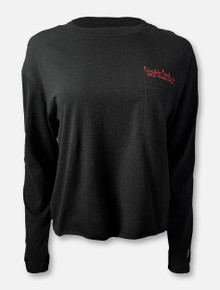 "Texas Tech Red Raiders ""Clothesline"" Long Sleeve Crop Top In Black"