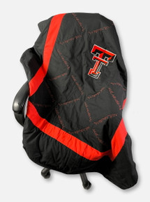 "Texas Tech Red Raiders Embroidered Double T With ""Red Raiders"" All-Over Script Quilted Blanket"