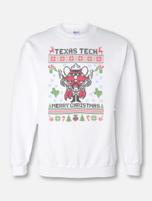 "Texas Tech Red Raiders ""Ugly Holiday "" Crewneck Sweatshirt In White Featuring Raider Red"