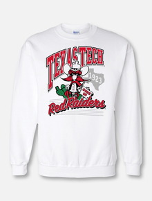 "Texas Tech Red Raiders ""Wild West "" Crewneck Sweatshirt In White Featuring Raider Red"