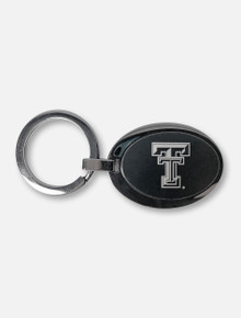 Texas Tech Red Raiders Double T Two-Tone Black Oval Keychain