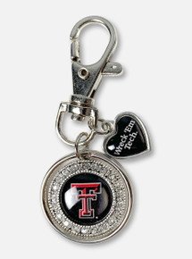 """Texas Tech Red Raiders Double T Round Keychain With """"Wreck 'Em Tech"""" Heart Charm In Black"""