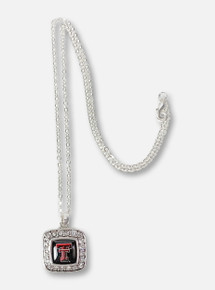 Texas Tech Red Raiders Double T Surrounded By Rhinestones Square Silver Necklace