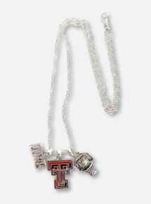 "Texas Tech Red Raiders Double T ""Slam Dunk"" Iridescent Charm Necklace"