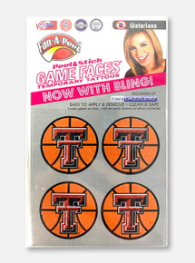 Texas Tech Double T Glitter Basketball Body Sticker