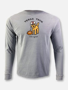 "Texas Tech Red Raiders Life Is Good ""Football Dog"" Grey Long Sleeve T-Shirt"