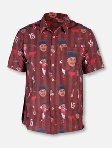 "Texas Tech Red Raiders Patrick Mahomes ""Showtime"" Short Sleeve Striped Hawaiian Dress Shirt"