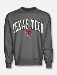 Texas Tech Red Raiders Arch Over Double T in White Tackle Twill Grey Sweatshirt