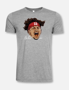 """Texas Tech Red Raiders """"Face Of Tech Football"""" T-Shirt In Grey Featuring Patrick Mahomes II"""