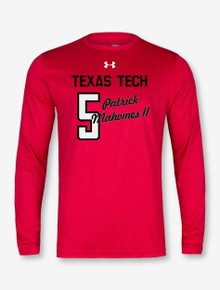 "Under Armour Texas Tech Athletic Dept. Issued  ""Celebrate Mahomes"" Long Sleeve T-Shirt In Red"