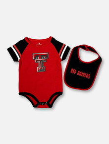 """Arena Texas Tech Red Raiders Double T """"Warner"""" INFANT Onesie And Bib Set"""