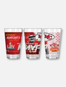 Texas Tech Red Raiders Kansas City Chiefs Super Bowl LIV Champions and Patrick Mahomes II MVP Pint Glass