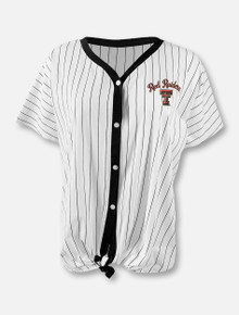 """Arena Texas Tech Red Raiders Double T """"Playground"""" Button-Up Tie-Front Baseball T-Shirt"""