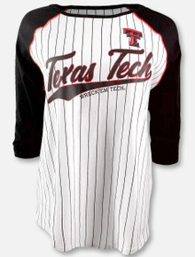 "Arena Texas Tech Red Raiders Double T ""Roadtrip""  Three-Quarter Sleeve Curved Hem Baseball T-Shirt"