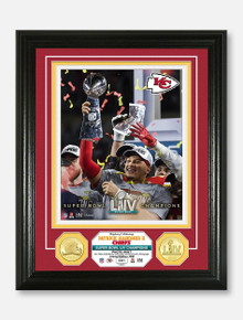 """Highland Mint Texas Tech Red Raiders Kansas City Chiefs Super Bowl LIV Champions Two-Coin """"Mahomes Holding the Trophy"""" Photo Mint Frame"""