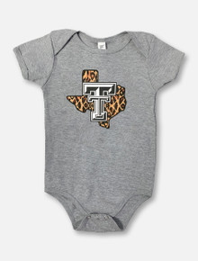 "Texas Tech Red Raiders ""Leopard Pride"" INFANT Onesie In Grey"