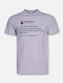 """Texas Tech Red Raiders Patrick Mahomes Official Brand """"Tweet"""" T-Shirt In Heather Grey"""