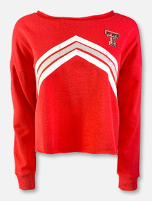 "Zoozatz Texas Tech Red Raiders Double T ""Flash"" Crop-Top Sweatshirt In Red"