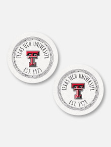 Texas Tech Red Raiders Double T Southern Pastime Car Coasters, Set Of Two