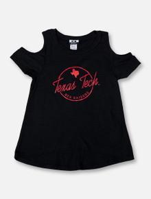 "Texas Tech Red Raiders Script ""Rossman"" TODDLER GIRLS Cold-Shoulder High-Low Shirt"