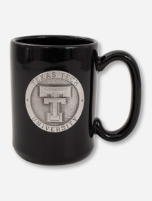 Texas Tech Heritage Pewter Double T Emblem on Black Coffee Mug