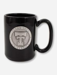 Texas Tech Heritage Pewter Double T Emblem on Black Coffee Mug