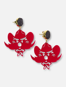 TeamRLN Texas Tech Red Raiders Raider Red Mascot on 18K Gold Plated Setting Black Druzy Earrings