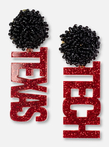 TeamRLN Texas Tech Red Raiders Red Glitter Texas Tech on Black Beaded Post Earrings
