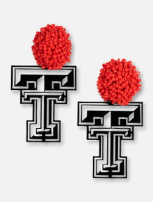 TeamRLN Texas Tech Red Raiders Double T with Red Beaded Post Earrings