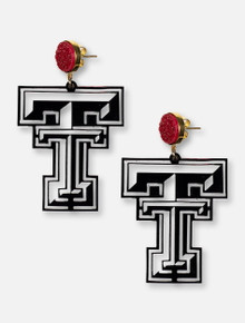 TeamRLN Texas Tech Red Raiders Raider Double T on 18K Gold Plated Setting Red Druzy Earrings
