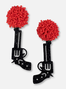 TeamRLN Texas Tech Red Raiders Black Glitter Guns Up Pistol on Red Beaded Post Earrings