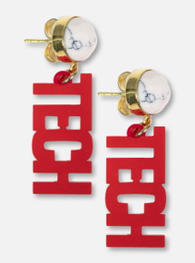 TeamRLN Texas Tech Red Raiders Mini TECH on 18K Gold Plated Setting Howlite Stone Post Earrings