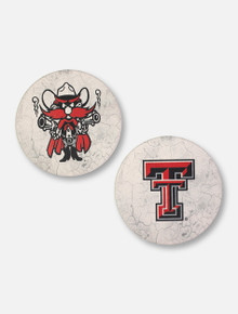 Texas Tech Red Raiders Double T and Raider Red Car Coasters, Set Of Two