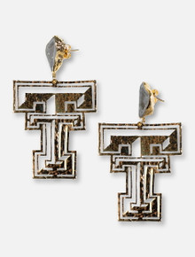 TeamRLN Texas Tech Red Raiders 24K Gold Double T with White Geode Post Earrings