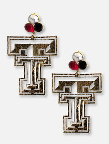 TeamRLN Texas Tech Red Raiders 24K Gold Double T Featuring A Trio Of Team-Colored Gemstones Post Earrings